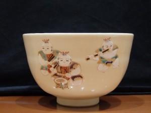 高台寺窯 陶楽造 仁清写五人囃子 茶 茶碗