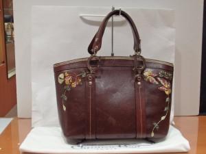 ディオール 刺繍 レザーハンドバッグ